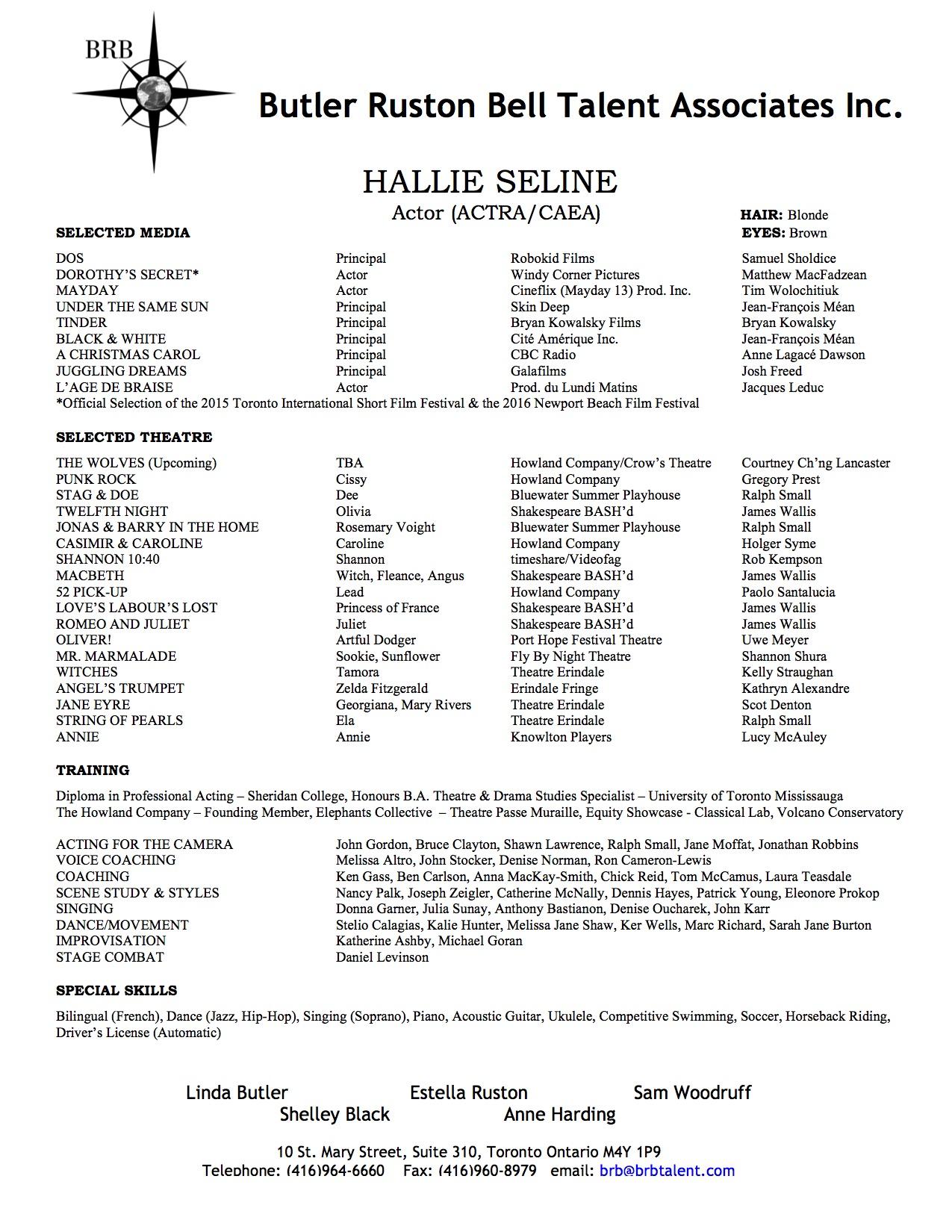 Resume – Hallie Seline